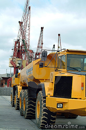 Big dumper truck in port