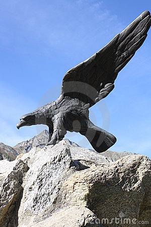 Big eagle statue on a Rock