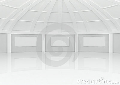 Big empty round hall with columns and frames