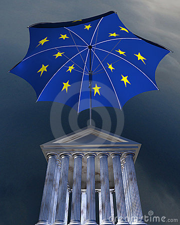 Big europe-flag umbrella standing over stocks exch