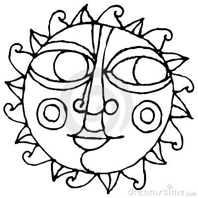 Big eye sun simple hand drawing black and white