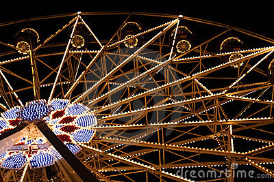 Big Fairy Ferris Wheel at Amusement Park At Night