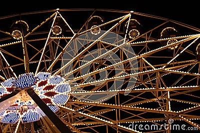 Big Fairy Ferris Wheel at Amusement Park At Night