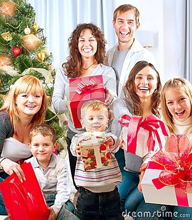 Big Family with Christmas Gifts