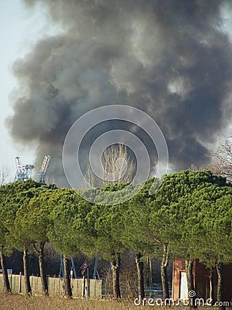 Big fire smoke cloud