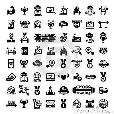 Big fitness icons set
