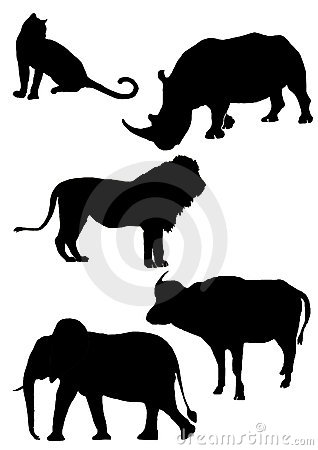 Big five Africa silhouette