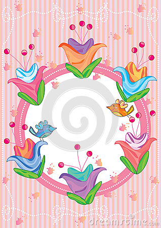 Big Flower Bird Circle Frame_eps