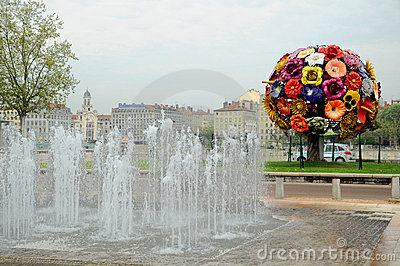 Big flower in Lyon Editorial Stock Photo