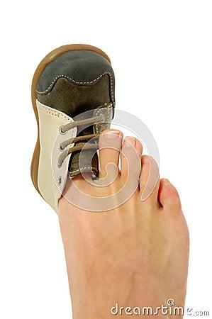 Free Big Foot Small Shoe Royalty Free Stock Image - 16103996
