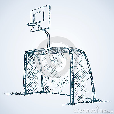 Big Football And Basketball Goal Vector Drawing Stock