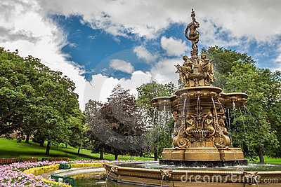 Big fountain in Edinburgh central park
