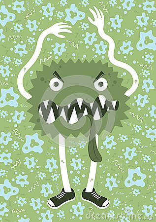 Big germ with little germs cartoon