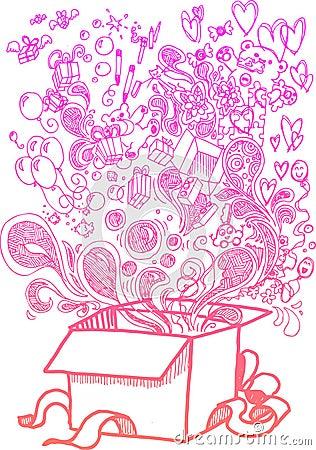 Big gift box, sketchy doodles