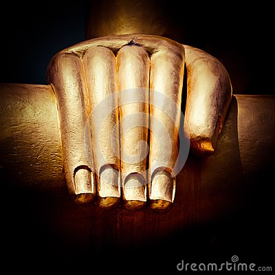 Free Big Golden Buddhas Hand. Thailand Royalty Free Stock Images - 34574789