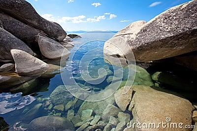 Big granite boulders at pristine lake shore