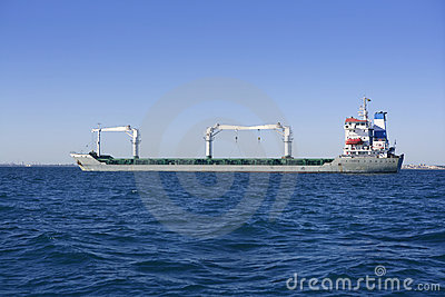 Big gray supertanker petrol oil boat