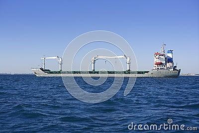 Big gray supertanker petrol oil boat