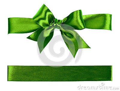 Big green bow made from silk