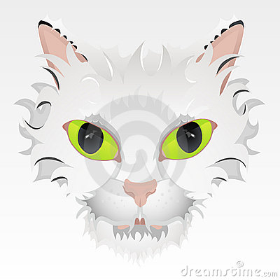 Big green eyes cat face illustration