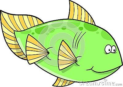 Big Green fish Vector