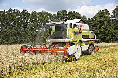 A big green harvester