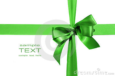 Big green holiday bow on white background