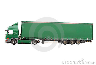 Big green truck. Isolated over white.