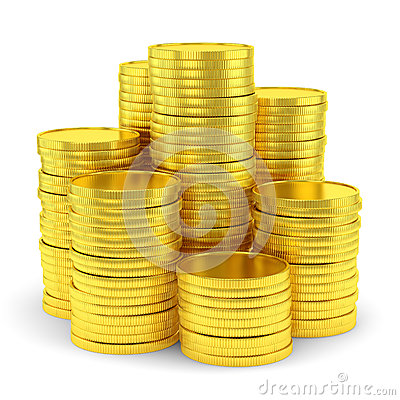 Big group of golden coin stacks