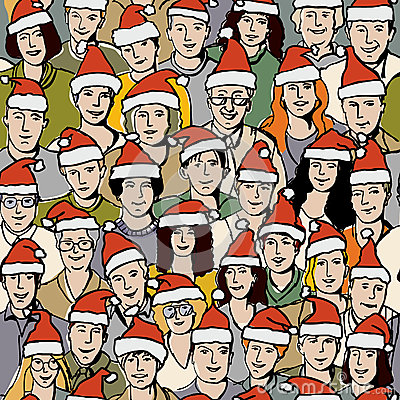 Big group people in Santa hats seamless pattern