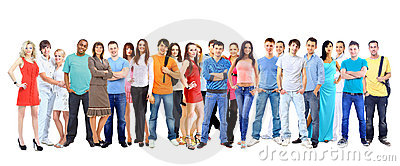 Big group  students. Over white background