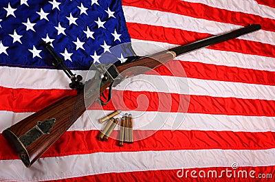 Big Gun on American Flag