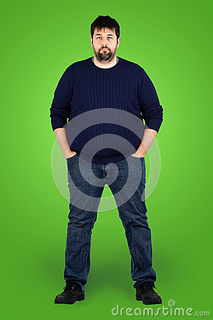 Big guy in full in front of green screen