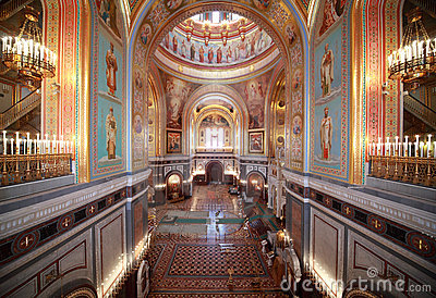 Big hall inside Cathedral of Christ the Saviour