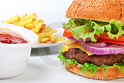 Big hamburger with french fries
