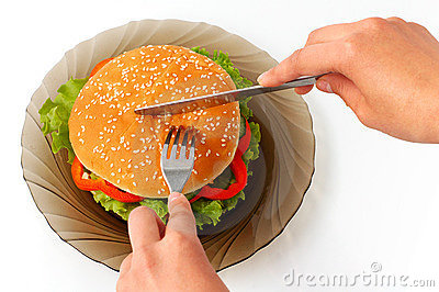 Big hamburger on a plate meal time