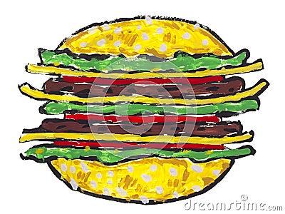 Big hamburger sandwich isolated
