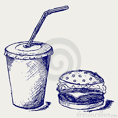 Big hamburger and soda