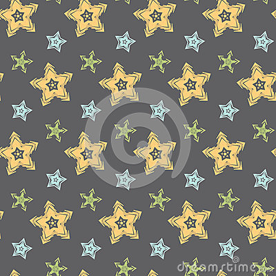 Big hand drawn stars seamless pattern Vector Illustration