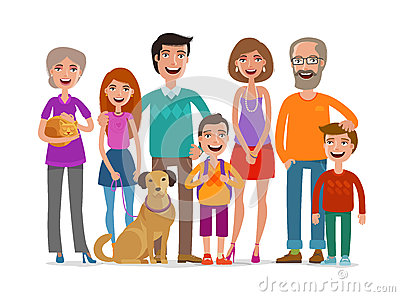 Big happy family. Group of people, parents and children concept. Cartoon vector illustration Vector Illustration
