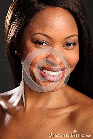 Big happy smile on beautiful black woman