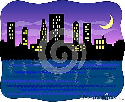 Big harbor city at night/eps