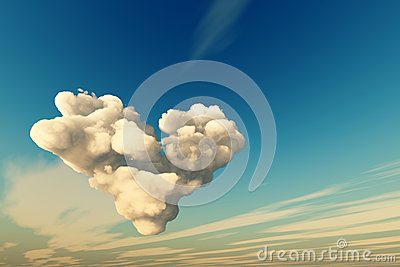 Big heart cloud in sky