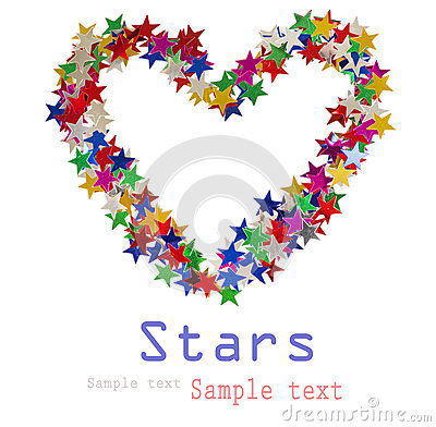 Big heart composed of many colored stars