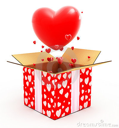 Big heart flying out from box