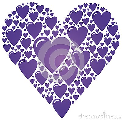 Big Heart Made Of Small Purple Hearts Stock Vector Image