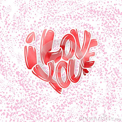 Free Big Heart With Lettering - I Love You, Typography Poster For Valentines Day, Cards, Prints. Royalty Free Stock Images - 108177129