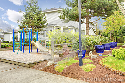 Big house with play yard for kids