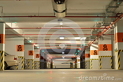 Cars inside big underground parking