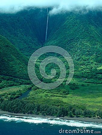 Big Island aerial shot - coast waterfalls